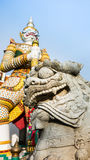 The beautiful of  stone Thai-Chinese style sculpture and thai art architecture . Stock Images