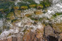 Beautiful stones on the coast and in the water stock image