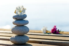 Beautiful stones and flowers on a wooden pier Stock Photo