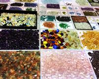 Beautiful stones on italian mineral show, Bologna stock images