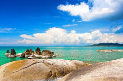 Beautiful stones on Lamai beach, Koh Samui, Thailand. Asia Royalty Free Stock Photography