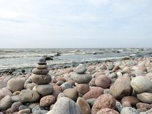 Beautiful stones on sea coast, Lithuania Royalty Free Stock Images