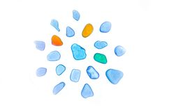 Beautiful stones, sea glass, beach glass. isolated Stock Photos