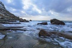 Beautiful Stony Haukland Utaklev Beach at Lofoten Islands in Norway Royalty Free Stock Photo