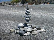 Land-art on Calabrian beach stock photography