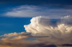 Beautiful stormy cumulus clouds in the sky, background.  stock photo