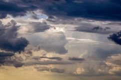Beautiful stormy cumulus clouds in the sky, background.  stock photos