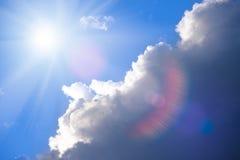 Beautiful Stormy Sky and Bright Sun. With Sun Glare royalty free stock photos