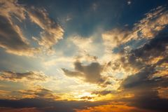 Beautiful stormy sunset sky. royalty free stock images