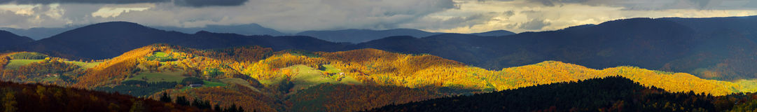 Beautiful stormy weather over the mountains panoramic view Royalty Free Stock Photography