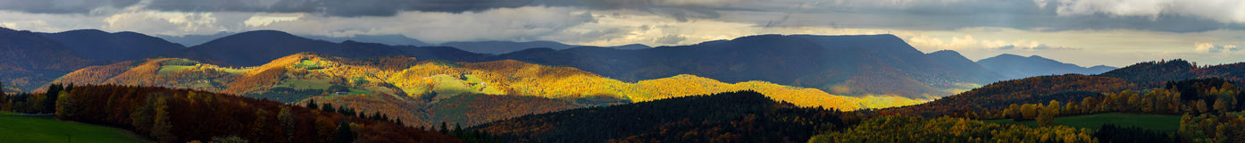Beautiful stormy weather over the mountains panoramic view Stock Image