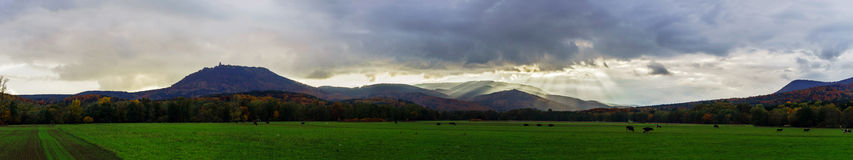 Beautiful stormy weather over the mountains panoramic view Stock Photography
