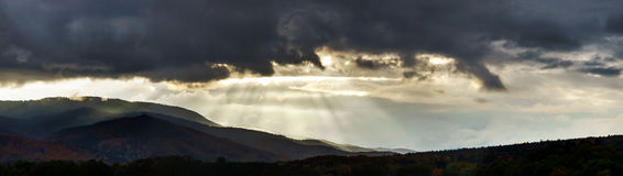 Beautiful stormy weather over the mountains panoramic view Royalty Free Stock Images