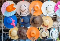 Beautiful straw hat fashion of women for summer trip stock photography