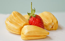 Beautiful strawberries and jack fruit.  Stock Image