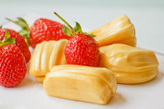 Beautiful strawberries and jack fruit.  Stock Photo