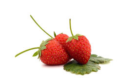 Beautiful strawberries and leaves isolated on white background Stock Photo