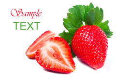 Beautiful strawberries with sample text Stock Photos