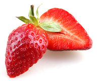 Beautiful strawberries  on white Stock Photo