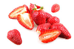 Beautiful strawberries  on white Stock Images