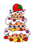 Beautiful strawberry fruit big cake cartoon illustration Stock Photos