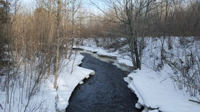 Beautiful stream in northern Minnesota. Snowy stream in Minnesota Stock Photos