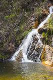 Beautiful stream in sunny day - Waterfall background. stock photo