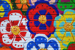 Beautiful street art graffiti. Abstract color creative drawing fashion colors on the walls of the city stock photography