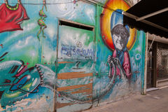 Beautiful street art on Pythonos Street in the old Nicosia city Stock Images