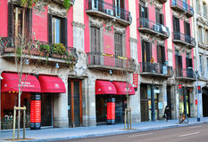 Beautiful street in Barcelona, Catalonia, Spain Royalty Free Stock Photos
