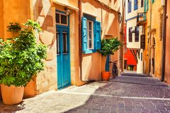 Beautiful street in Chania, Crete, Greece. Beautiful cozy street in Chania, Crete island, Greece royalty free stock images