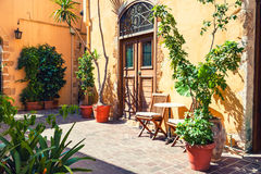 Beautiful street in Chania, Crete island, Greece. Royalty Free Stock Image
