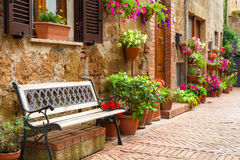 Beautiful street decorated with flowers Royalty Free Stock Photos