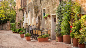 Beautiful street decorated with flowers stock images