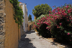 Beautiful street in the Greek island of Rhodes Stock Photos