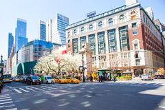 Beautiful street in the heart of New York City. Beautiful New York City with street and trees royalty free stock photo