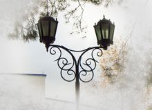 Beautiful street lamp against the sky and trees, added vignette light edges for clouds and haze.  stock photos