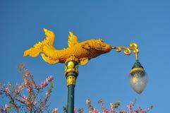 Beautiful street lamp. Street lamps in Kanchanaburi Thailand are the golden fish stock photos