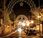 Beautiful street at midnight in south Italy Royalty Free Stock Photo