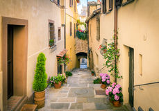 Beautiful street of Montepulciano, Tuscany Royalty Free Stock Image