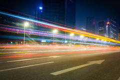 Beautiful street at night with light trails Royalty Free Stock Photo