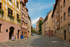 Beautiful street  of Nuremberg in summer day. Royalty Free Stock Images