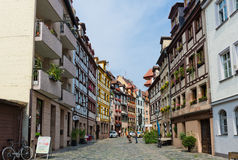 Beautiful street  of Nuremberg in summer day. Stock Photo