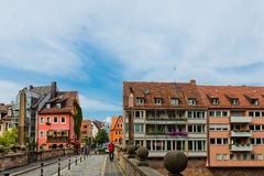 Beautiful street  of Nuremberg in summer day. Stock Photography