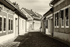 Beautiful street with old buildings in Esztergom, black and whit Royalty Free Stock Photo