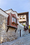 Beautiful  street in the old town of Plovdiv, Bulgaria with  Traditional houses Royalty Free Stock Images