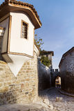 Beautiful  street in the old town of Plovdiv, Bulgaria with  Traditional houses Stock Photography