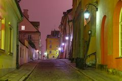 Beautiful street in Old Town of Warsaw, Poland Stock Photography