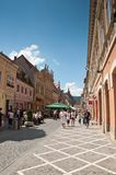 Beautiful street with people and tourists Stock Images