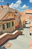 Beautiful street in Sibiu. Old Town Square in the historical center of Sibiu was built in the 14th century, Romania Royalty Free Stock Images